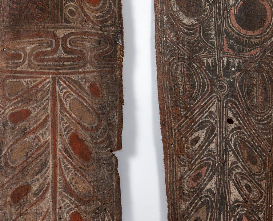Pormenor de painéis pintados (Estuário do Sepik, Papua Nova Guiné) – Créditos: José Eduardo Cunha/MHNC-UP