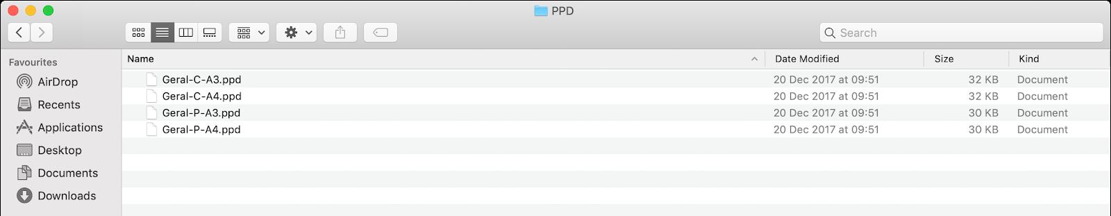 Localização dos ficheiros PPD descompactados