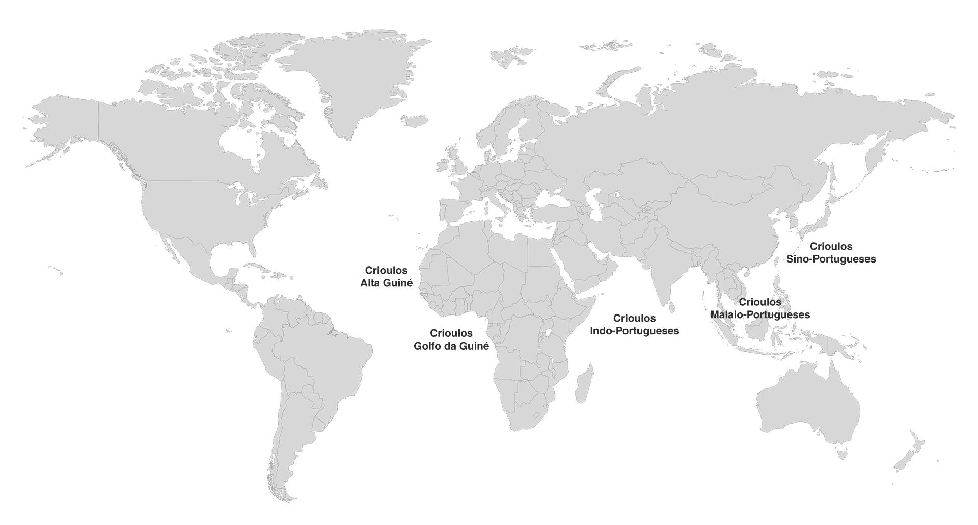 Mapa dos Crioulos de Base Portuguesa
